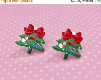 Festive Decorated Christmas Tree with Red Bow Surgical Steel Stud Earrings