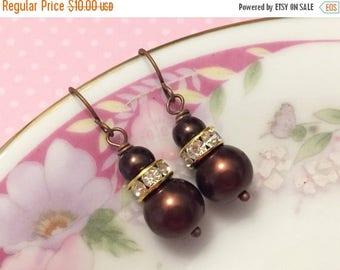 SALE Brown Pearl Earrings, Brown Rhinestone Earrings, Brown Pearl Drop Earrings, Short Dangle Earrings, Brown Earrings, KreatedByKelly