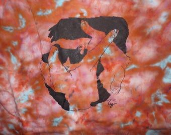 orange tie dye funky cat t-shirt men's size M