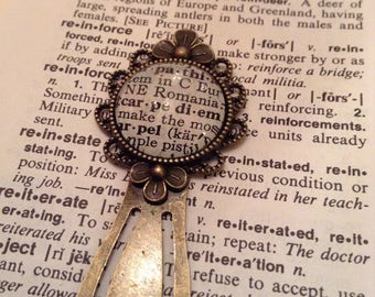 Carpe Diem Bookmark / Vintage Dictionary / Stocking Stuffer /  Fancy Book Mark / Book Lover Gift / Bookish Gift / Reader Gift