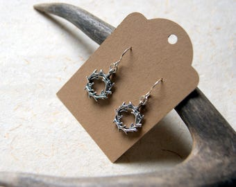 Antler Wreath Earrings - Silver Antler Wreath Earrings - FREE GIFT WRAP