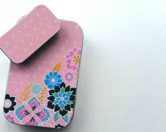Large hinge tin and Small slide tin Duo. . . White polka dots on pink.