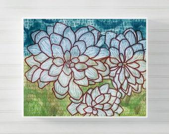 Succulent Wall Art, Watercolor Painting, Nature Print, Modern Wall Art,  Modern Art