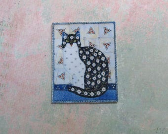 Dollhouse Miniature Flowered Cat Tile Mural