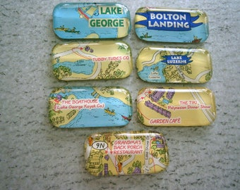 Adirondack Glass Magnets, Clearance Sale Lot of 7 Magnets Lake George, Bolton Landing, Lake Luzerne, Willow Glass
