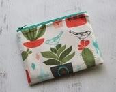 CLEARANCE - cactus print bag - cactus zippered pouch - small wallet - cacti print - cactus zip pouch - bag organizer