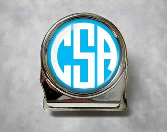 Custom Monogram Magnetic Clip - Memo Clip, Refrigerator Magnet, Personalized Gift - Choice of 13 Colors