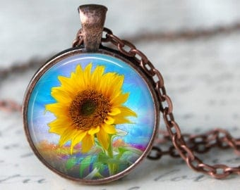 Breezy Sunflower Pendant, Necklace or Key Chain - Flowers - Choice of Silver, Bronze, Copper or Black - Spring, Flower