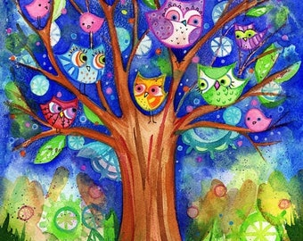 ON SALE Owls Tree Painting original watercolor 8x10 colorful blue