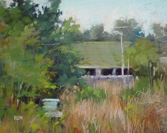 IRELAND Landscape Rural Barn with Beehive Original Pastel Painting Karen Margulis 8x10