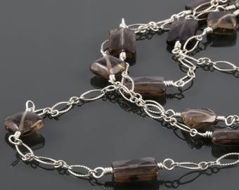 Long Smoky Quartz Necklace. Sterling Silver. Genuine Gemstone. Vintage Inspired. f17n003