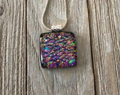 Pink Dichroic Fused Glass Pendant, Pendant, Necklace, Square Pendant, Silver Plated, Chain