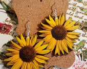 Sunflower Earrings handmade ooak wood stainless earwires handmade jewelry yellow daisy sunflower jewelry
