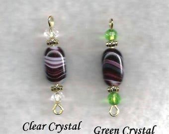 Swirled Glass and Crystal Dangle Earrings