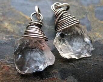 Rock Crystal Quartz Shard Bead Charms - 1 pair - 18mm in length