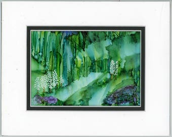 Floral Painting, Alcohol Ink Art, Matted Painting with a double mat, alcohol ink landscape, contemporary art