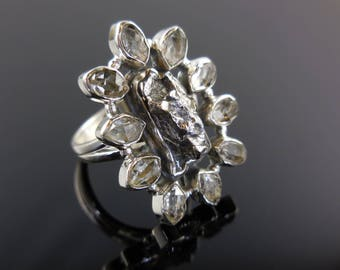 Meteorite & herkimer diamond (quartz) sterling silver ring - size 7.75
