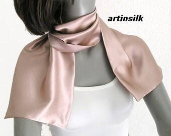 Rose Dust Scarf Blush Silk Charmeuse, Light Muted Pink Petite Neck Scarf, Tea Rose Scarflette, Artisan Handmade, Gift for Girl, Artinsilk.