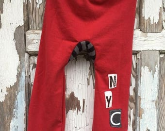 40% OFF- Big Butt Pants-NYC Skyline-Toddler Pants-Recycled Clothing-Jersey Cotton-2T