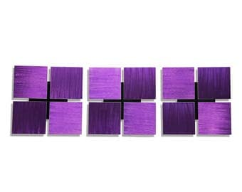 Purple Modern Metal Wall Sculpture - Contemporary Metal Wall Art - Home Decor - Painted Wall Accent - 3 of a Kind Purple by Jon Allen