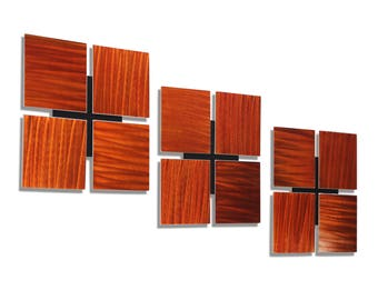 Copper Abstract Metal Wall Art, Modern Metal Wall Sculpture, Contemporary Home Decor, Painted Wall Accent - 3 of a Kind Copper by Jon Allen