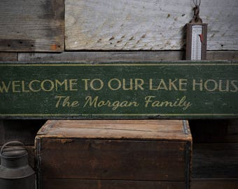 Lake House Welcome Sign, Rustic Lake House Sign, Custom Family Sign, Lake House Decor, Welcome Gift, HandMade Vintage Wooden Sign ENS1001862