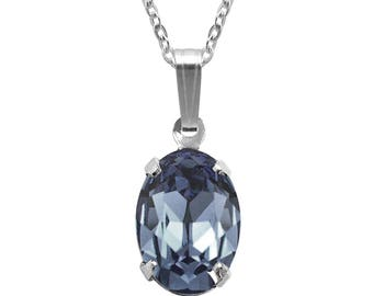 Swarovski Crystal Oval Pendant Necklace Sterling Silver Denim Blue or CHOICE OF COLOURS
