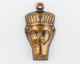 20mm Antique Brass Pharaoh Head Charm #CHA015