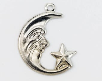 20mm Silver Crescent Moon and Star Charm (4 Pcs) #2177A