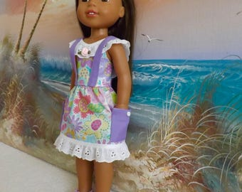 """14 and 14.5"""" Doll Dress Moda Spring Meadow With Suspenders and Working Pockets OOAK Fits dolls like H4H and Wellie Wishers"""