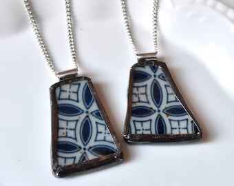 You ComPlate Me - Matching Broken Plate Friendship Necklaces - Blue and White - Recycled China