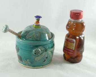 Honey Pot  with matching honey dipper, Kitchen Canister, Ceramic Storage Jar, Lidded Pot, Jam Jar, Save the Bees, Flower and Bumblebee Art
