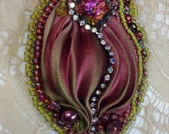 Silk Shibori Embellished Brooch