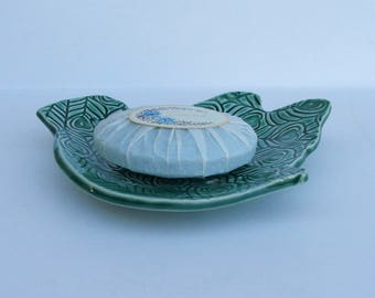 Ceramic Soap Dish, Footed, Handmade, Slab built bird design
