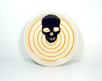little plate with a Dark Skull on orange pinstripe bullseye READY TO SHIP