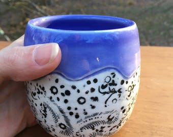 Inlaid Porcelain Cup purple black white