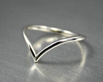 ON SALE TODAY Sterling Silver Chevron Ring, Pointed Ring Design