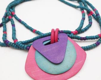Colorful 80s Beaded Necklace Wooden Purple Pink Teal Memphis Style 90s Multi Strand Pendant
