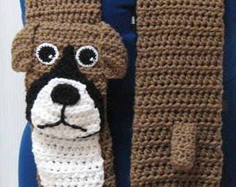 Boxer Scarf - Dog Scarf - Animal Scarf - Men's Scarf - Dog Theme Gifts - Women's Scarves - Free Shipping - Crochet Scarf