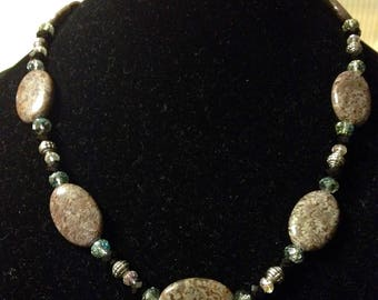 Women's Jasper and Crystal Necklace