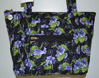 Quilted Fabric Handbag Purse Black with Beautiful Violet Flowers