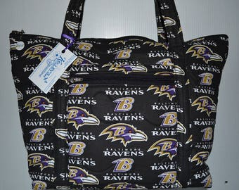 Quilted Fabric Handbag Tote Purse  Baltimore Ravens Football NFL