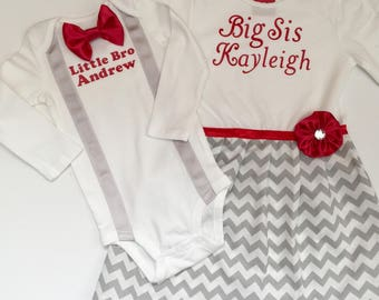 Big sister little brother outfits... SIBLING CLOTHES--grey and white chevron with red accents --new baby
