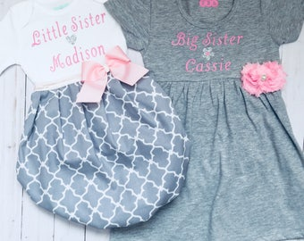 Personalized Big Sister Little Sister OUTFITS .. Shabby chic Pink and grey dress and baby gown -sister Set..new baby..baby shower