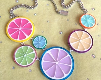 Candy Fruit Slice Acrylic Laser Cut Statement Necklace