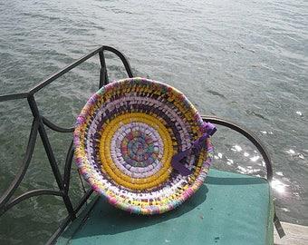 BEACH DAY Textile  art BaSKeT  BoWL CENTERPIECE