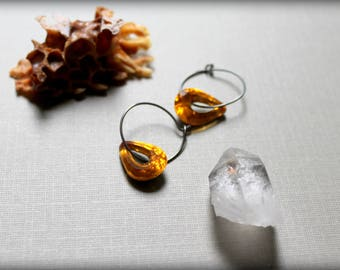 Topaz Crystal Earrings, Yellow Teardrop Crystal Oxidized Hoops, Vintage Wedding Earrings
