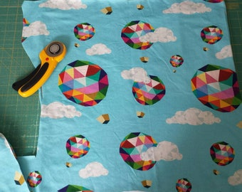 """Geo Hot Air Balloons CUSTOM Cotton/Jersey KNIT Unique Fabric REMNANT 19""""× 38"""""""