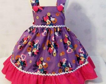 Girls Jumper Dress, Minnie Mouse Purple Girls Dresses, Girls Dress, Girls Clothing, Girls Party Dress, handmade Dress, Made in the USA, #25