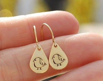 ON SALE striped BIRD hooks, eco-friendly silver earrings. Handcrafted by Chocolate and Steel